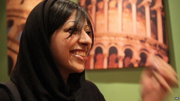 Zainab al-Khawaja following her release (17 February 2014)